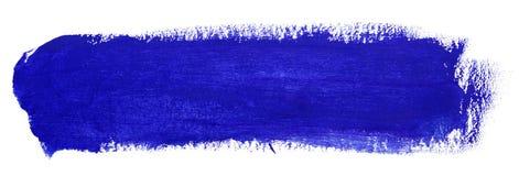 Blue stroke of gouache paint brush. On white vector illustration