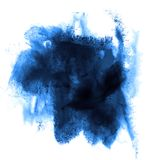 Blue stroke paint splatters color watercolor. Abstract water brush watercolour texture ink painting isolated royalty free stock image