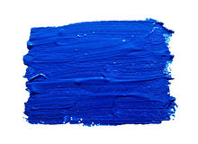 Blue strokes of the paint brush isolated Royalty Free Stock Image