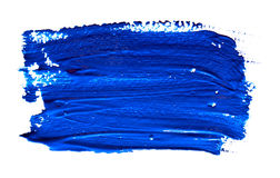 Blue strokes of the paint brush isolated Royalty Free Stock Images