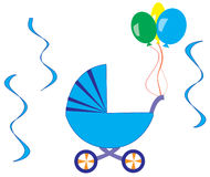 Blue stroller. With balloons and ribbons Royalty Free Stock Images