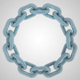 Blue strong steel chain circle in top view Royalty Free Stock Images