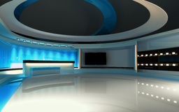 Blue Studio. The perfect backdrop for any green screen or chroma key video or photo production. 3d render. 3d visualisation Royalty Free Stock Photo