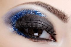 Blue style fashion make-up Stock Photography