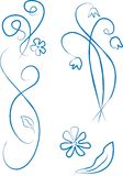 Blue style ornament. Flowers and leafs, blue style ornament Royalty Free Stock Photography