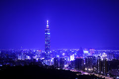 Blue style of Taipei night scene with Taipei101 Stock Photos