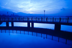 Blue style Tamsui Sunset, the new Taipei, Taiwan Stock Images