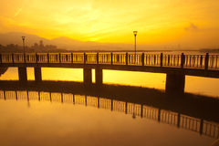 Blue style Tamsui Sunset, the new Taipei, Taiwan Stock Photos