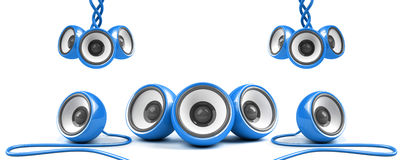 Blue stylish high-power stereo system Stock Image