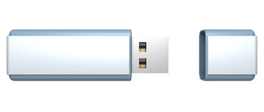 Blue stylish USB flash drive memory. 3d Stock Image