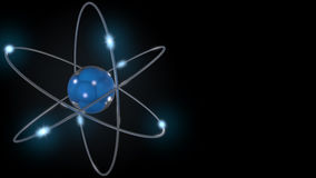 Blue stylized atom and electrons. 3D rendering. Blue stylized atom and electron orbits Royalty Free Stock Photo