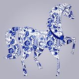 Blue stylized horse Gzhel. Russian blue floral traditional pattern. Vector illustration Stock Photography