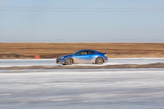 Blue subaru BRZ on ice track. Moscow, Russia - March 1st, 2014: Moscow Subaru Forester club championship. This stage was located in Moscow, on the frozen pond Royalty Free Stock Photos