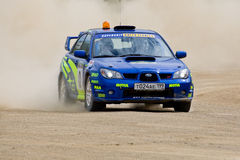 Blue Subaru Impreza at rally Stock Photos