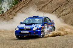 Blue Subaru Impreza at rally Royalty Free Stock Photography