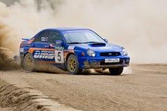 Blue Subaru Impreza at rally Royalty Free Stock Image