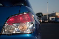 Blue Subaru Impreza tail light in detail. royalty free stock photo