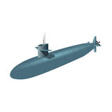 Blue submarine Stock Images