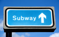 Blue subway sign Stock Photography