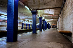 Blue subway station Royalty Free Stock Photos