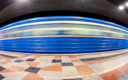 Blue subway train in motion at the underground station. Wide ang Stock Image