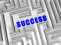 Blue success in labyrinth Royalty Free Stock Image