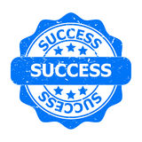 Blue Success Seal or Icon. Blue and white graphic with word Success and stars Stock Photography