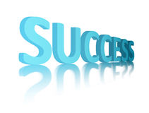 Blue sucess. Success 3d advertisement over white background with reflection Royalty Free Stock Photography