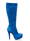 Blue suede boots isolated on white Stock Photos