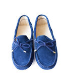 Blue suede loafers Stock Images