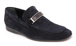 Blue suede man shoe Royalty Free Stock Image