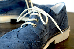 Blue Suede Man Shoes. Classic design stock image