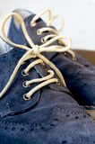 Blue Suede Man Shoes. Classic design royalty free stock photography
