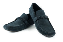 Blue suede men shoes  on white isolated.  Stock Image