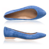 Blue suede pumps over white Stock Image