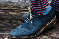 Blue suede shoes Stock Image