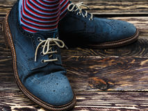 Blue suede shoes Royalty Free Stock Photos