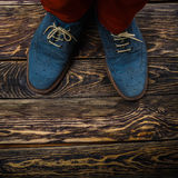Blue suede shoes Stock Images
