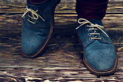 Blue suede shoes Royalty Free Stock Images