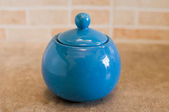 Blue sugar bowl Royalty Free Stock Photography
