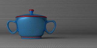 Blue sugar-bowl on gray Royalty Free Stock Images