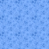 Blue Sugar Skull seamless pattern. Can be used as textile, fabric or wrapping paper Stock Images
