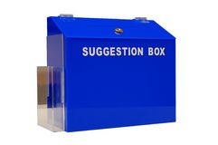 Blue suggestion box. Against white background stock photo