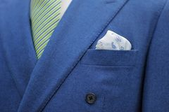 Blue suit with tie and handkerchief Stock Photography