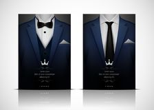 Blue Suit and Tuxedo with bow tie Royalty Free Stock Photo