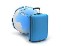 Blue suitcase and earth globe Stock Photography