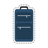 blue suitcase travel equipment cut line Royalty Free Stock Image