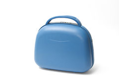 Blue suitcase on a white Royalty Free Stock Photos
