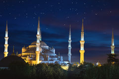 Blue Sultanahmet Mosque at night time with fantastic sky and sta. Rs, Istanbul, Turkey Royalty Free Stock Photography