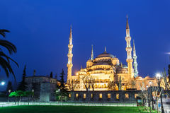 Blue Sultanahmet Mosque at night time , Istanbul, Turkey. Blue Sultanahmet Mosque at night time. Blue Mosque from the street with night illumination. General Stock Photo